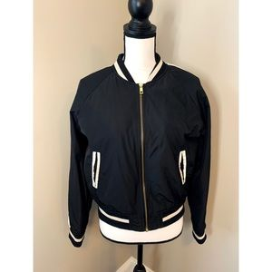 Charlotte Russe Black and Cream Bomber Jacket